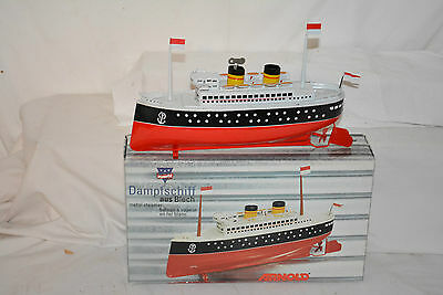 Vintage German Made Arnold Wind Up Tin Toy Boat Ocean Liner Cruise Ship Box
