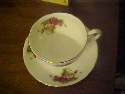 NEW CHELSEA STAFFS Cup and Saucer Set made in England -WHITE with flowers