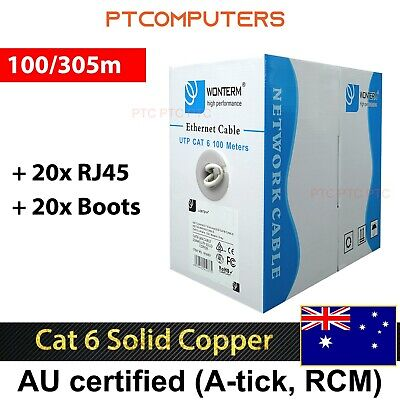 ATcom Cat6 305m UTP Ethernet LAN Network Cable Roll with FREE 20x RJ45/20x Boots