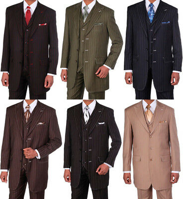 Men's 3 Piece Gangster Pin-Striped Three Button Suit w/ Vest #5903