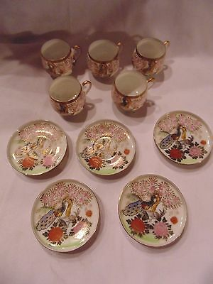 ANDREA BY SADEK SET OF 10 PCS 5 CUPS & 5 PLATES W/ PEACOCK PATTERN!!! NICE