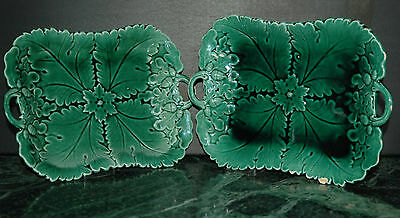 Pair Antique Victorian Majolica Acorn Cabbage Leaf Dish Bowl Plate Green Vintage
