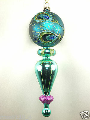 """Glittery Turqouise Color Finial Ornament with Peacock Motif 8"""" long Brand New"""