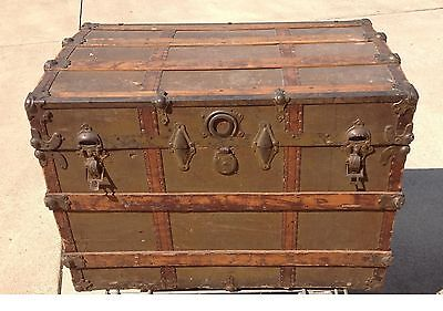 ANTIQUE STEAMER TRUNK VINTAGE WOOD BRASS STORAGE TRAVEL CHEST LARGE FLAT TOP