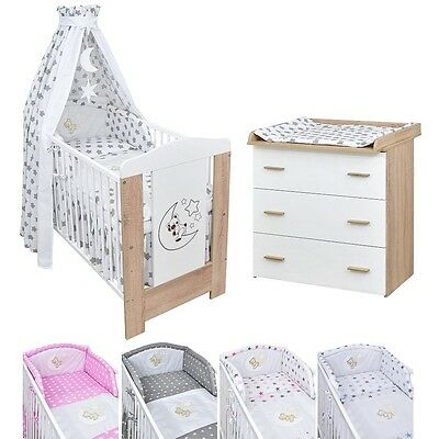 krone rosa komplett set babybett kinderbett wickelkommode babyzimmer baby bett eur 279 00. Black Bedroom Furniture Sets. Home Design Ideas
