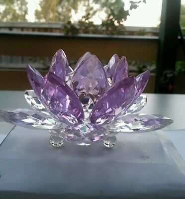 Crystal Glass Faceted Muticolour Lotus Flower Wedding Gift Decoration
