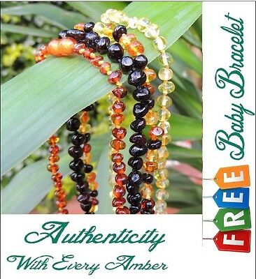 Certified Baltic Amber Baby Teething Necklace With Free Matching Bracelet.