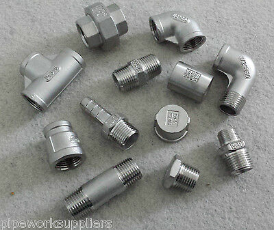 "STAINLESS STEEL 316 PIPE FITTINGS BSP 1/8"" To 4""  -  RATED 150lb"