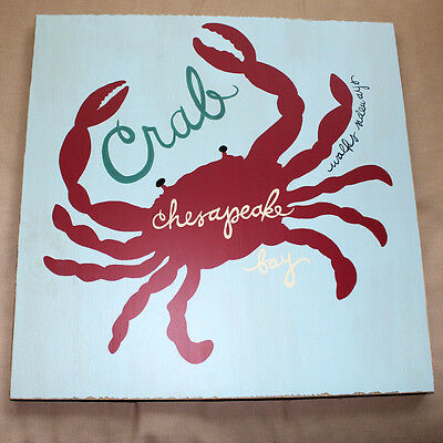 NEW POTTERY BARN KIDS CRAB SURF PLAQUE WALL deco wooden sea animal adventures