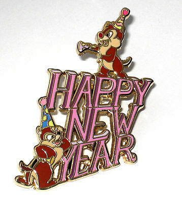 Rare LE Disney Pin✿Happy New Year Chip & Dale Party Hat Holiday Celebration Munk