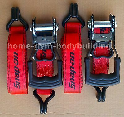 """New 1 Pair SNAP-ON Heavy Duty 1-1/2"""" Ratchet Tie Down Straps 3000lbs Snap On"""