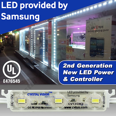 SAMSUNG INSTALLED 25ft STORE FRONT WINDOW LED MODULE LIGHTS SIGN BAR COOL WHITE