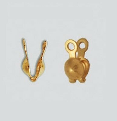 14 K Gold Filled Clam Shell Bead Tip  Double Loop 3.5 MM   pkg. of 10  # 1110DF