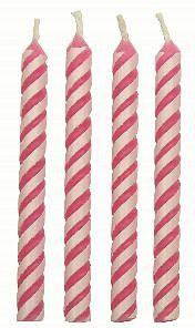 PME 24pk Small Pink Striped Candles Celebration Birthday Party Cake Decorating