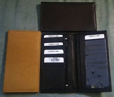 Mens Women Top Grain SOFT GENUINE LEATHER Tan Brown Black Checkbook Cover WALLET