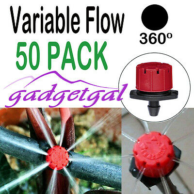 50 x Adjustable Flow Water Irrigation Drip Dripper Drippers Sprinkler System