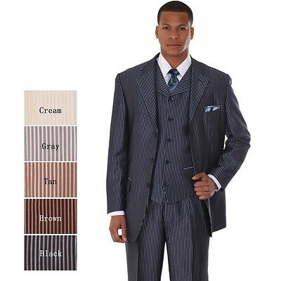 Men's Three Button Pin-Striped Fashion Suit with Vest 5802V5 Navy Cream Tan