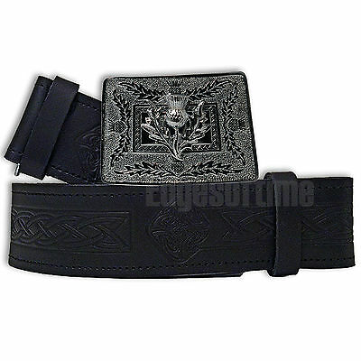 Genuine Real Leather Embossed Scottish Kilt Belt & Chrome Thistle Buckle 30-48