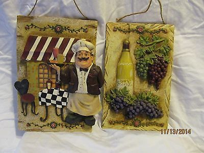 2 Kitchen 3D Kitchen Wall Plaques w/ Chef in Bistro & Grapes/Wine