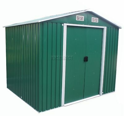 FoxHunter 10 X 8FT Garden Shed Metal Apex Outdoor Storage Foundation Green KMS