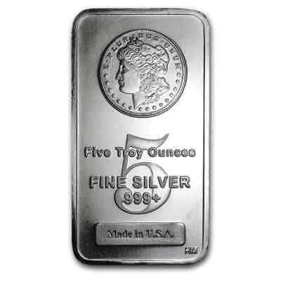 5 oz Silver Bar - Morgan Design - SKU #62295