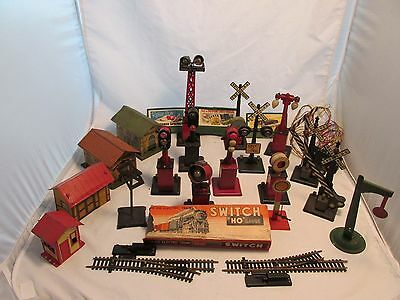 Vintage Metal Railroad Track and Train Toy Accessories Lot over 20 pieces