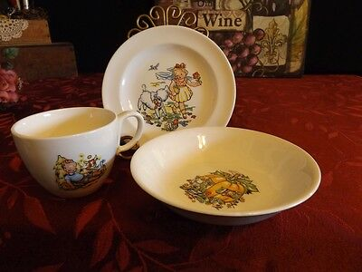 VINTAGE CHILDREN'S DISHES NURSERY RHYME ADV. GIVE-A-WAY DISHES MARY BOY BLUE +