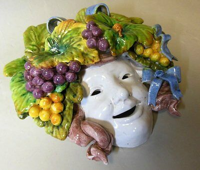 Vintage Italian Majolica Mask Wall Plaque Grapes Bow Knot Wine Bacchus Fruit