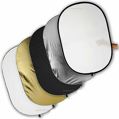 """40""""x60""""  5in1 Collapsible Multi Disc Photography Oval Light Reflector Panel Set"""