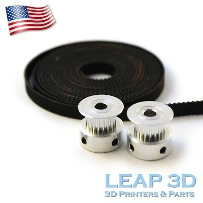 2 x Aluminum GT2 20T Pulley and 2M Belt for RepRap 3D printer Prusa i3 Mendel