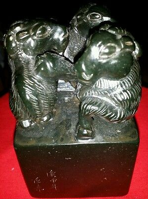 Antique BIg shoushan Jade Hand  Carved three Sheep Stamp Seal