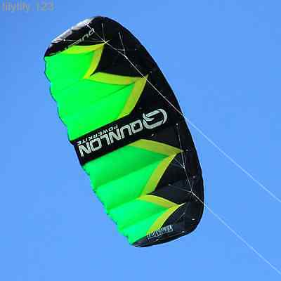 Green 3Sqm 2- line Fiol Power Kite with wrist strap / Traction Kite For Beginner