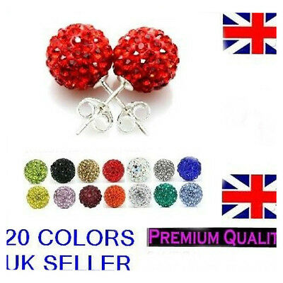 Earring Shamballa Stud Earrings Silver With Multi-Colour Crystals Seller