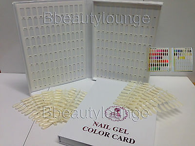 212 White Nail Tip Colour Chart Display Book With Tips For  Gel Polish & Varnish