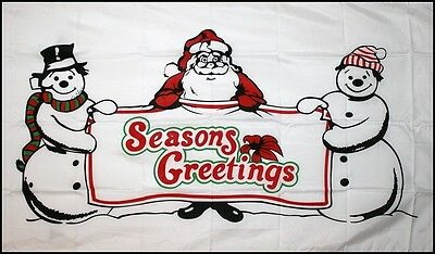 Christmas Seasons Greetings Xmas 5 X 3 Feet Flag Flags Yuletide Santa Snowman