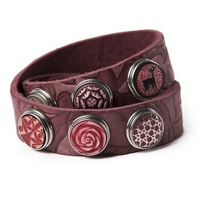 Noosa Amsterdam Armband Wrap Bracelet Double Skinny embossed wine red