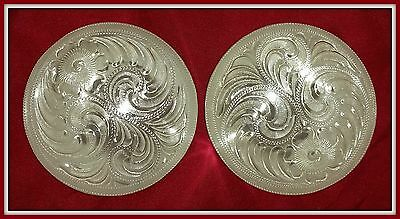 """2 - 2 1/2"""" (2.5"""") Silver Hand Engraved Western Conchos"""