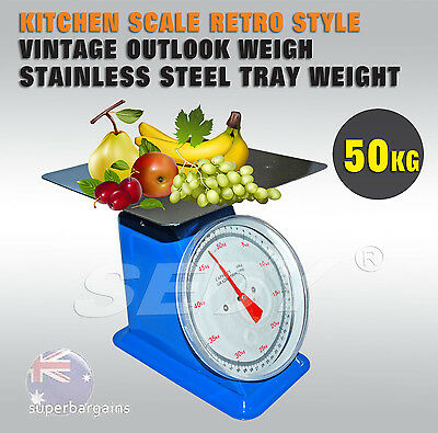 50kg Spring Scale Market Retro Kitchen Scale Vintage Weigh Stainless Tray Weight