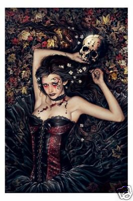 Victoria Frances - Skull Girl Leaves POSTER 61x91cm NEW bloody leaf bed gothic