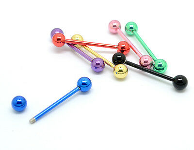 50pcs 14g  Anodized Stainless Steel Tongue Rings Bars Nipple Barbells HOT