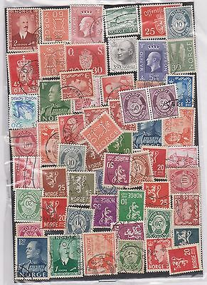 (WF8) 1950-1980 Norway mix of50 different stamps starter packet