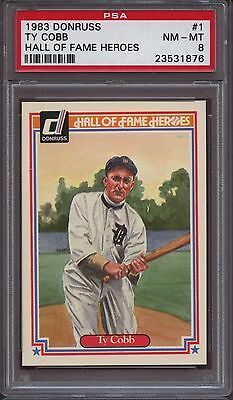 1983 Donruss Hall of Fame Heroes 1 Ty Cobb PSA 8 NM - Mint