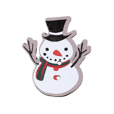 60D 15 CHRISTMAS SNOWMAN PAINTED WOOD BUTTONS 36mm x 18mm Sewing~embellishment