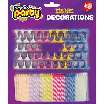 152 piece Birthday cake Candles, Cake toppers. Candy striped candles assorted