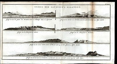 Recognition View of Hawaii Maui Oahu Coastal Scene 1802 antique engraved map