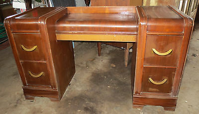 Vintage Antique Waterfall Bedroom Set -- Vanity with Mirror and Dresser