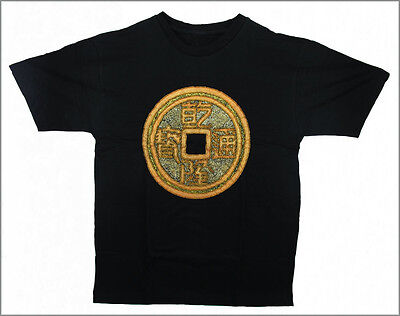 HAND PAINTED & BEADED CHINESE COIN T-SHIRT - Medium [IND2]