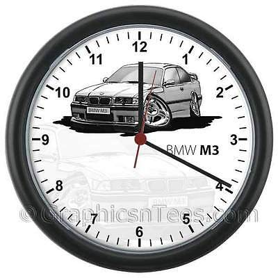 BMW E36 M3 Silver Caricature Car Cartoon Wall Clock - Personalised Gift