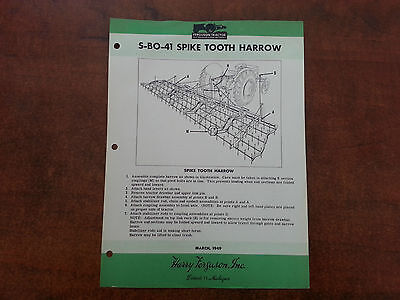 Harry Ferguson Tractor Ferguson SPIKE TOOTH HARROW assembly instructions 1949