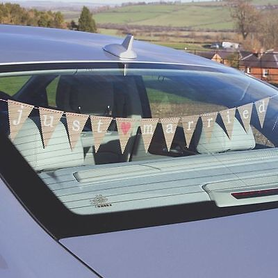1m JUST MARRIED WEDDING CAR BUNTING FLAGS Vintage Retro Brown JUST MY TYPE